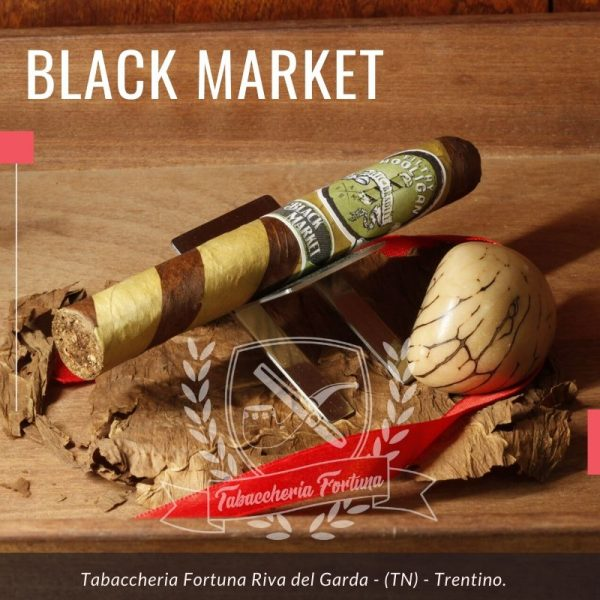 Black Market Filthy Hooligan Barber Poleè avvolto in capa candelahonduregna alternata con tabacco nicaraguense da Jalapa, capote Sumatra ecudoriano mentre il ripieno provienedaPanama e Honduras