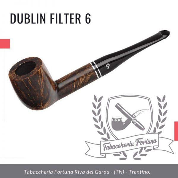 Dublin Filter 6 Peterson Lip. Una classica forma da biliardo rifinita in marrone semi opaco